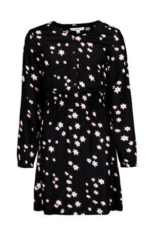 gebloemde jurk zwart/roze