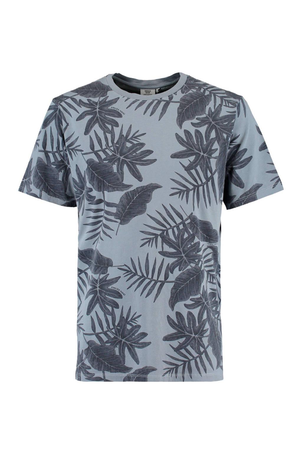 America Today T-shirt met bladprint grijsblauw, Grijsblauw
