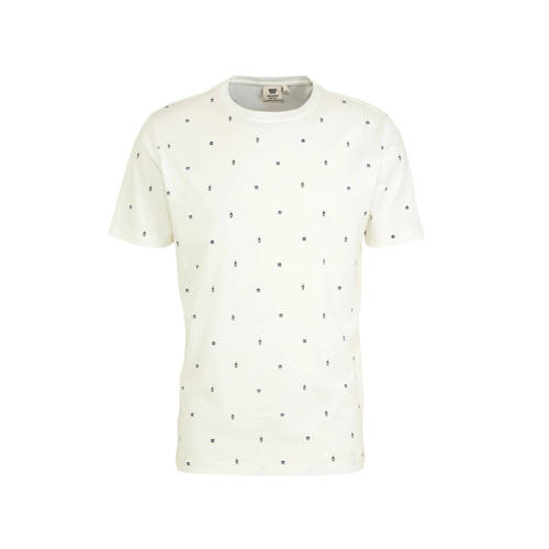 America Today T-shirt met all over print lichtblau