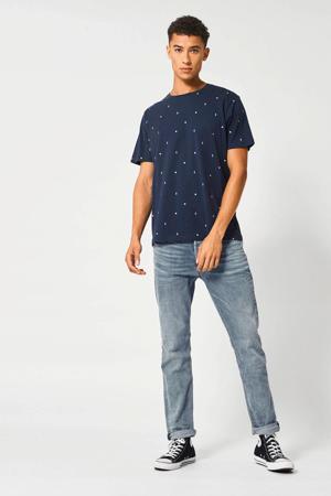 T-shirt met all over print donkerblauw/blauw