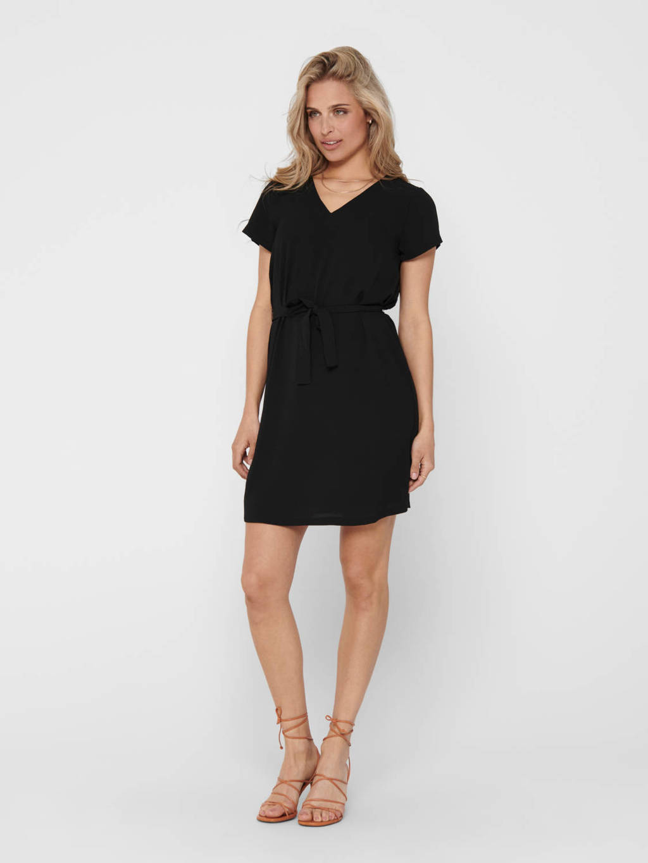 ONLY jurk met ceintuur zwart, Zwart