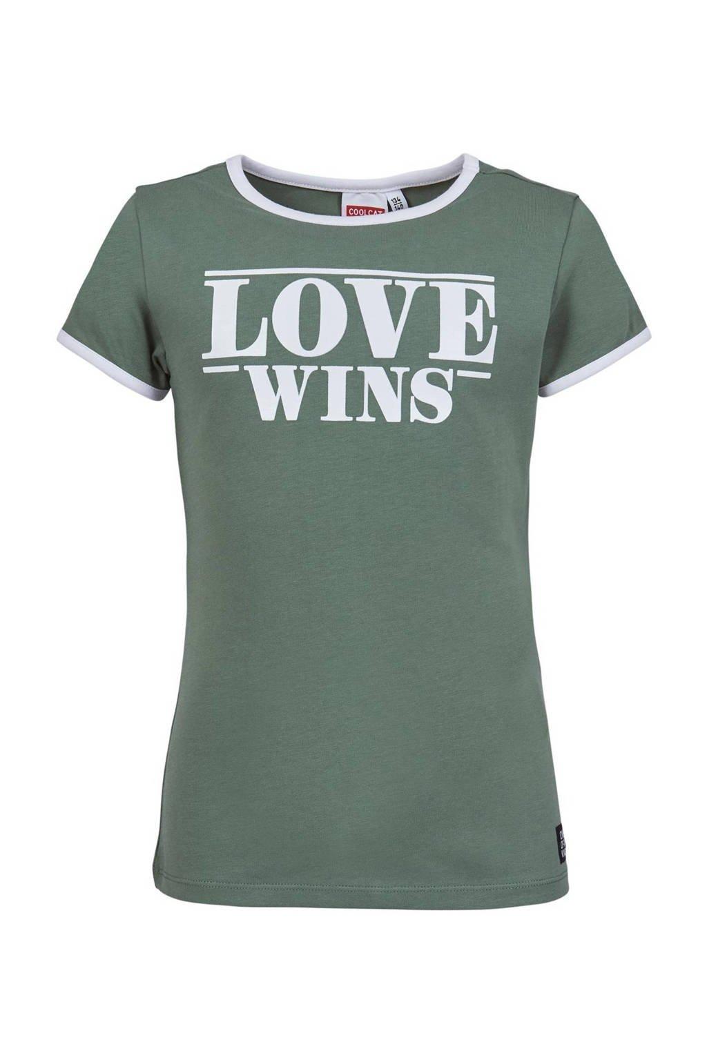 CoolCat Junior slim fit T-shirt Elin met tekst olijfgroen/wit, Olijfgroen/wit