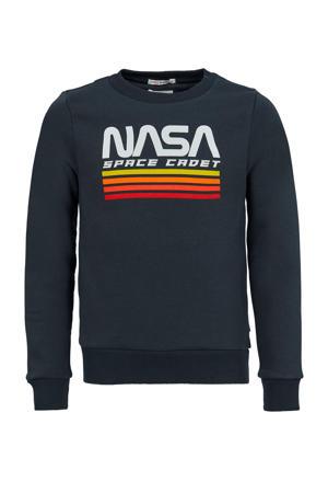sweater Slate met printopdruk antraciet/wit/geel