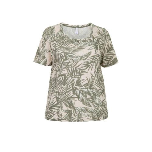 Miss Etam Plus T-shirt met bladprint groen