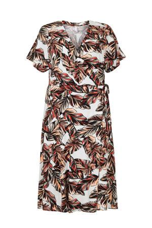jersey jurk met bladprint en ceintuur oranje/wit