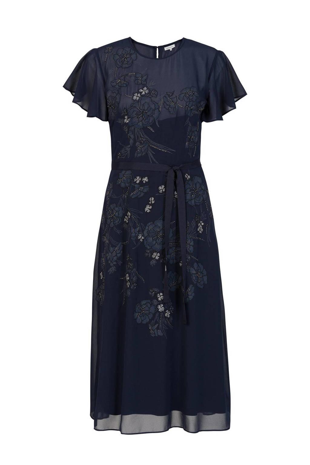 PROMISS semi-transparante maxi jurk met printopdruk en glitters donkerblauw, Donkerblauw