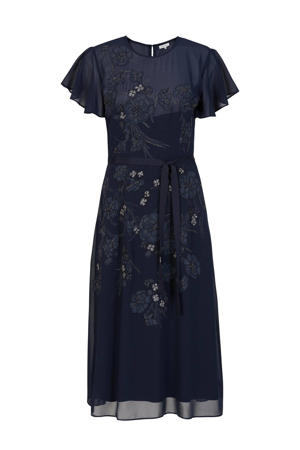semi-transparante maxi jurk met printopdruk en glitters donkerblauw