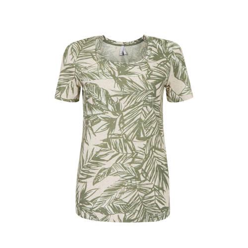 Miss Etam Regulier T-shirt met bladprint groen