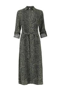 Miss Etam Lang blousejurk met all over print en ceintuur groen/zwart, Groen/zwart