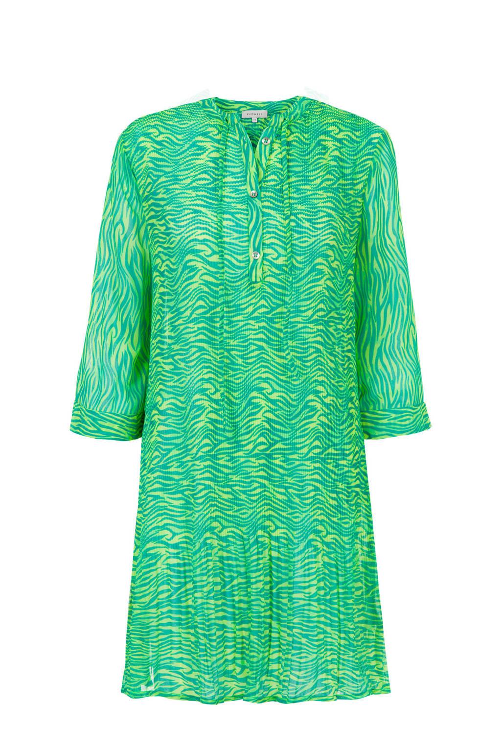 PROMISS jurk met all over print blauw/groen, Blauw/groen