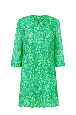 jurk met all over print blauw/groen