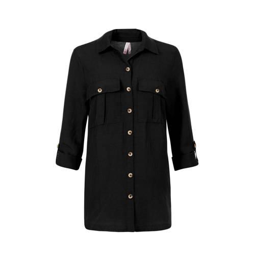 Miss Etam Regulier blouse met linnen zwart