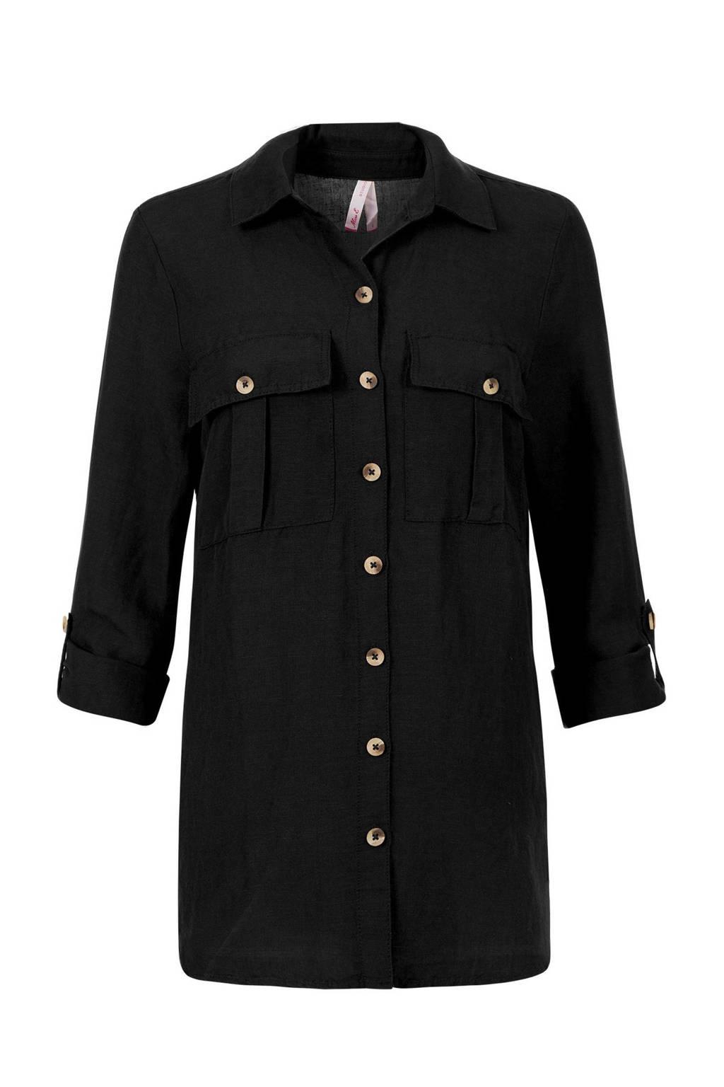 Miss Etam Regulier blouse met linnen zwart, Zwart