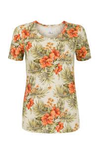 Miss Etam Regulier T-shirt met all over print zand/groen, Zand/groen