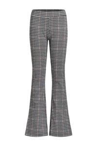 WE Fashion geruite flared broek zwart/wit/rood, Zwart/wit/rood