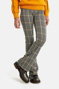 WE Fashion geruite flared broek zwart/wit/geel, Zwart/wit/geel