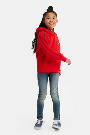 hoodie met contrastbies en borduursels felrood