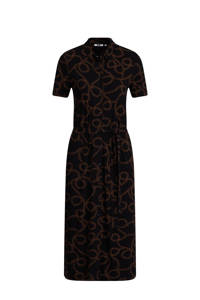 WE Fashion blousejurk met all over print en ceintuur zwart/bruin, Zwart/bruin