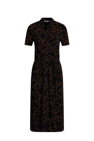 blousejurk met all over print en ceintuur zwart/bruin