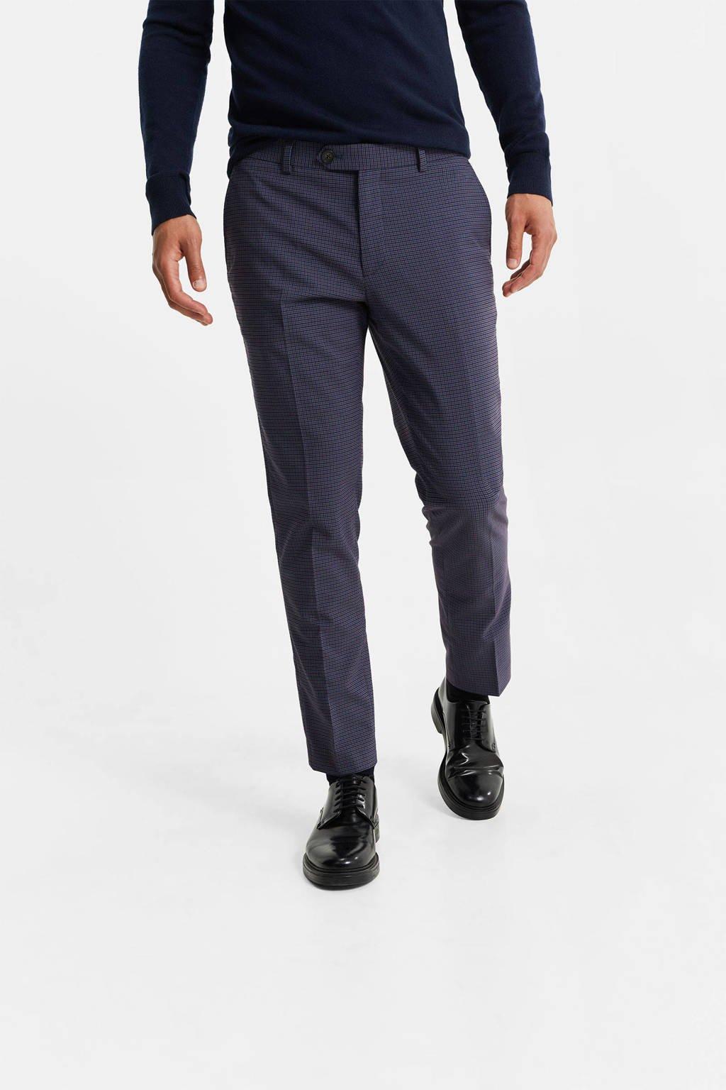 WE Fashion geruite slim fit pantalon blauw, Blauw