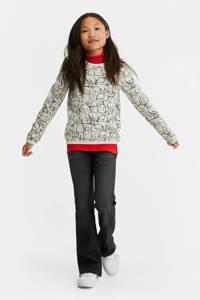 WE Fashion sweater met all over print en glitters lichtgrijs melange/zwart/rood, Lichtgrijs melange/zwart/rood