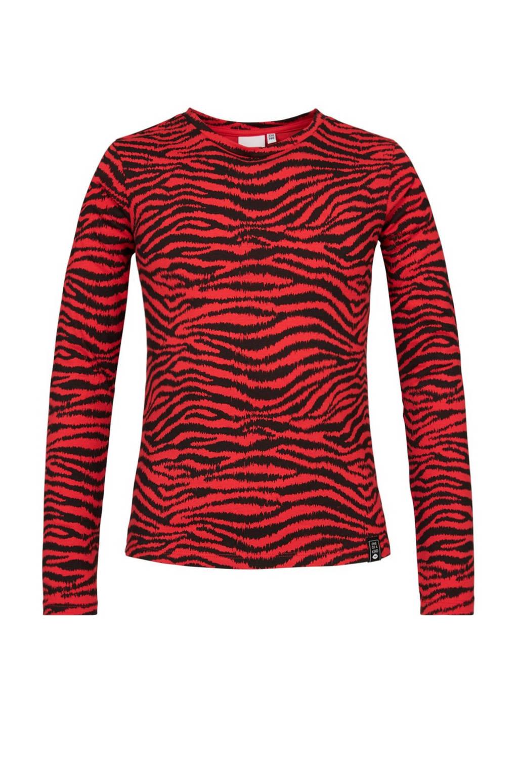CoolCat Junior longsleeve Liv met zebraprint rood/zwart, Rood/zwart