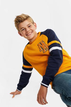 sweater honinggeel/donkerblauw