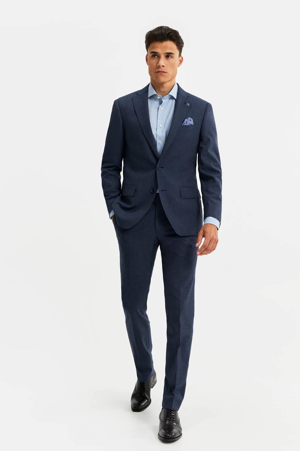 WE Fashion Van Gils slim fit colbert met wol blauw, Blauw