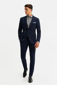 WE Fashion Van Gils slim fit colbert blauw, Blauw
