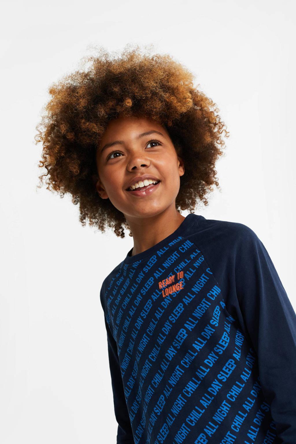 WE Fashion   pyjama donkerblauw/blauw/oranje, Donkerblauw/blauw/oranje