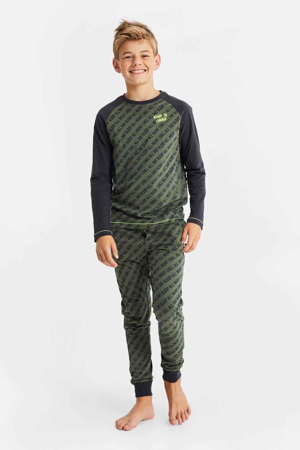 WE Fashion   pyjama army groen/zwart, Army groen/zwart