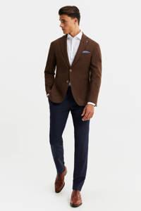 WE Fashion Van Gils slim fit colbert met wol bruin, Bruin