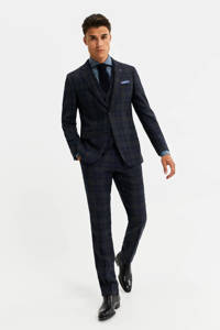 WE Fashion Van Gils geruite slim fit pantalon met wol donkerblauw, Donkerblauw