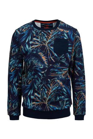 sweater met bladprint blauw