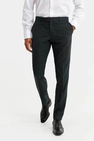 slim fit pantalon met wol donkergroen