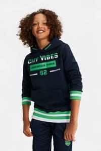 WE Fashion   sportsweater donkerblauw, Donkerblauw/groen