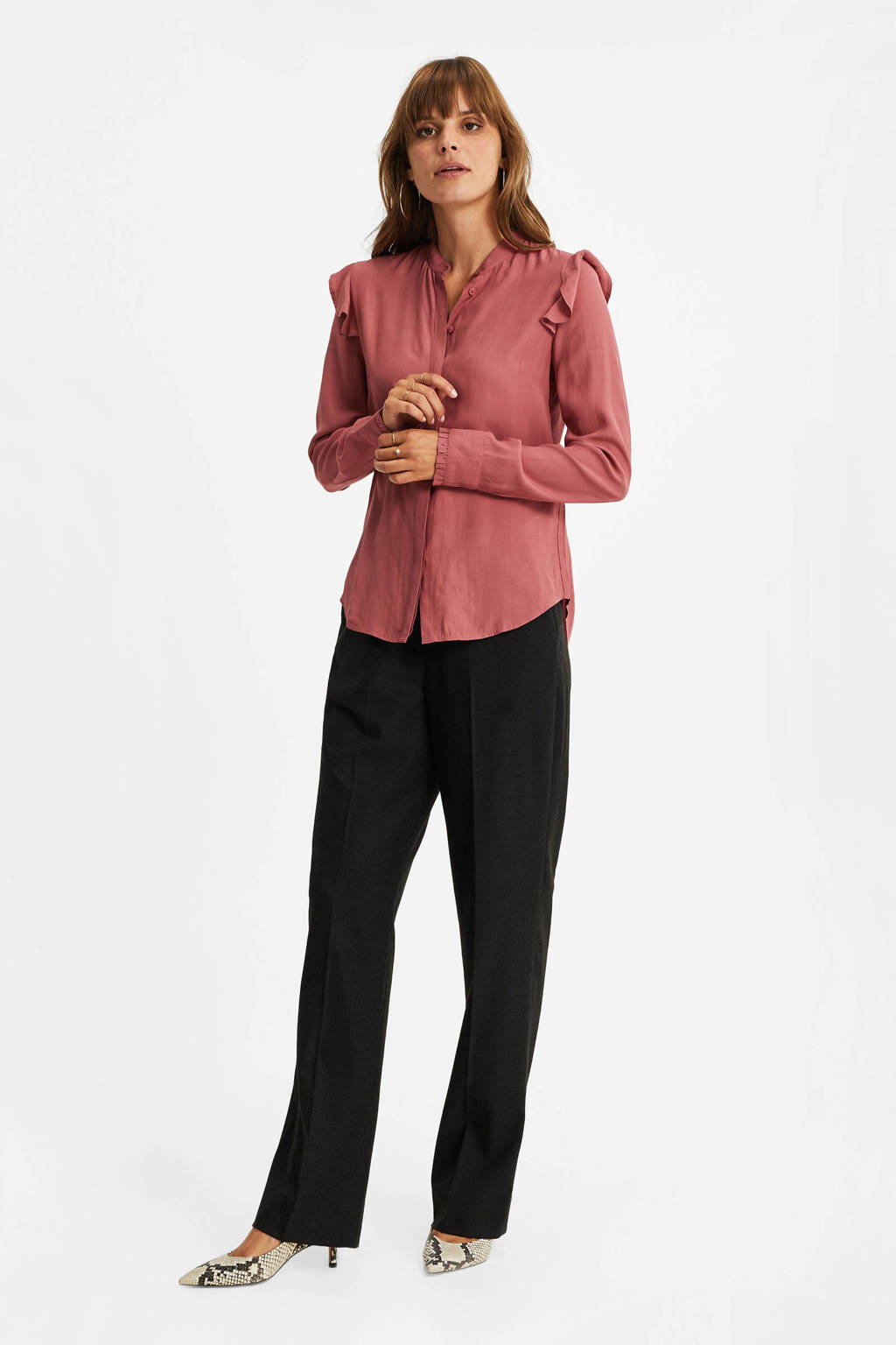 WE Fashion blouse met ruches roze, Roze