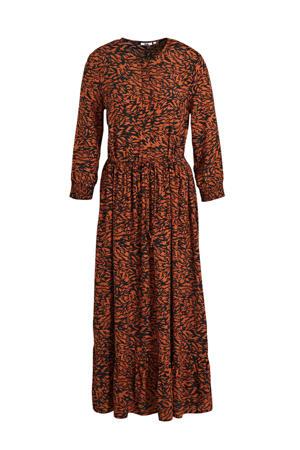 maxi jurk met all over print en plooien bruin/zwart