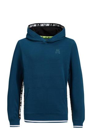 hoodie met contrastbies petrol