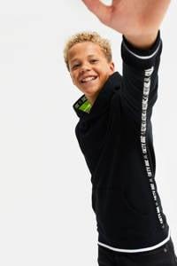 WE Fashion Salty Dog hoodie met contrastbies zwart, Zwart