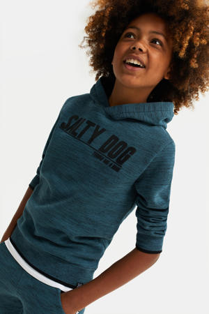 hoodie met tekst grijsblauw