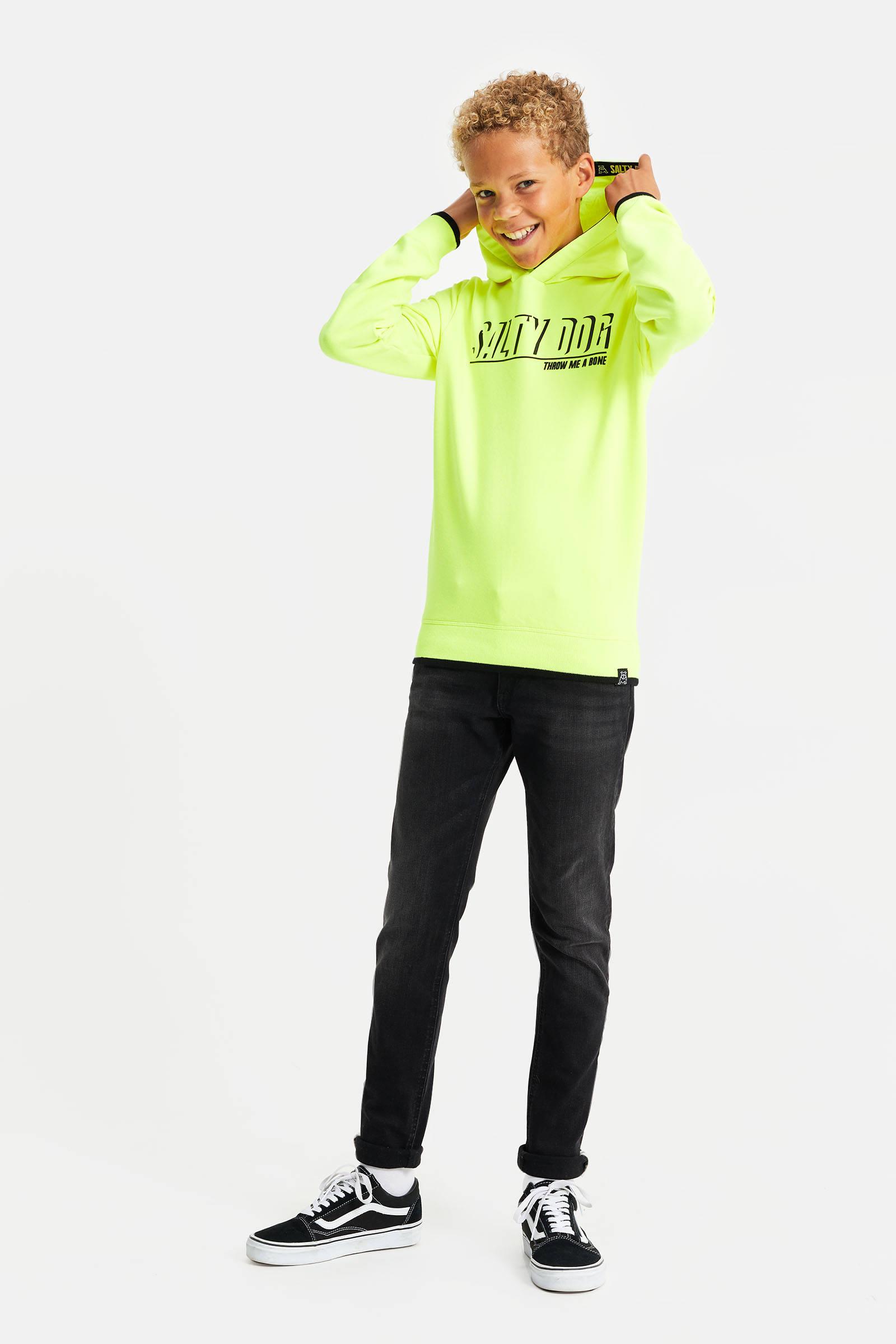 WE Fashion Salty Dog T shirt met tekst Salty Dog neon geel