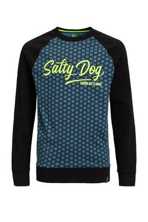 longsleeve met all over print Salty Dog grijsblauw