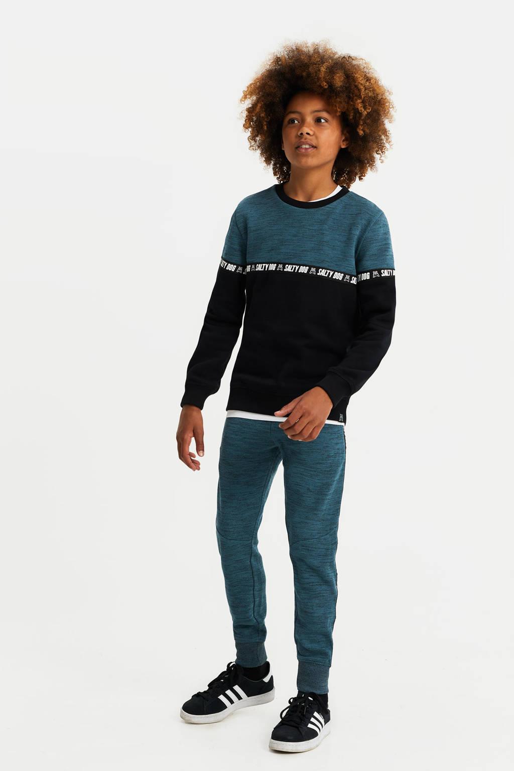 WE Fashion Salty Dog sweater zwart/blauw, Zwart/blauw