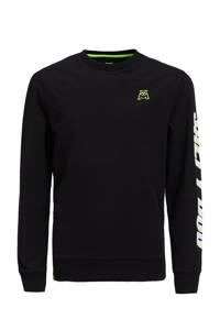 WE Fashion Salty Dog longsleeve met tekst Salty Dog zwart/neon groen/wit, Zwart/neon groen/wit