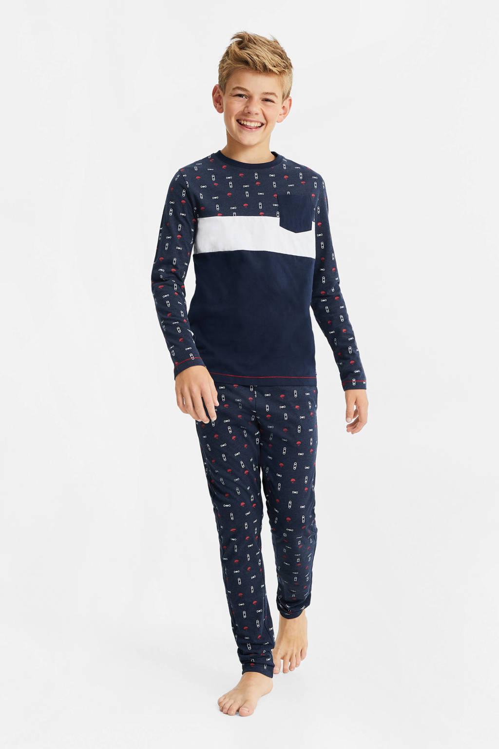 WE Fashion   pyjama donkerblauw/wit/rood, Donkerblauw/wit/rood