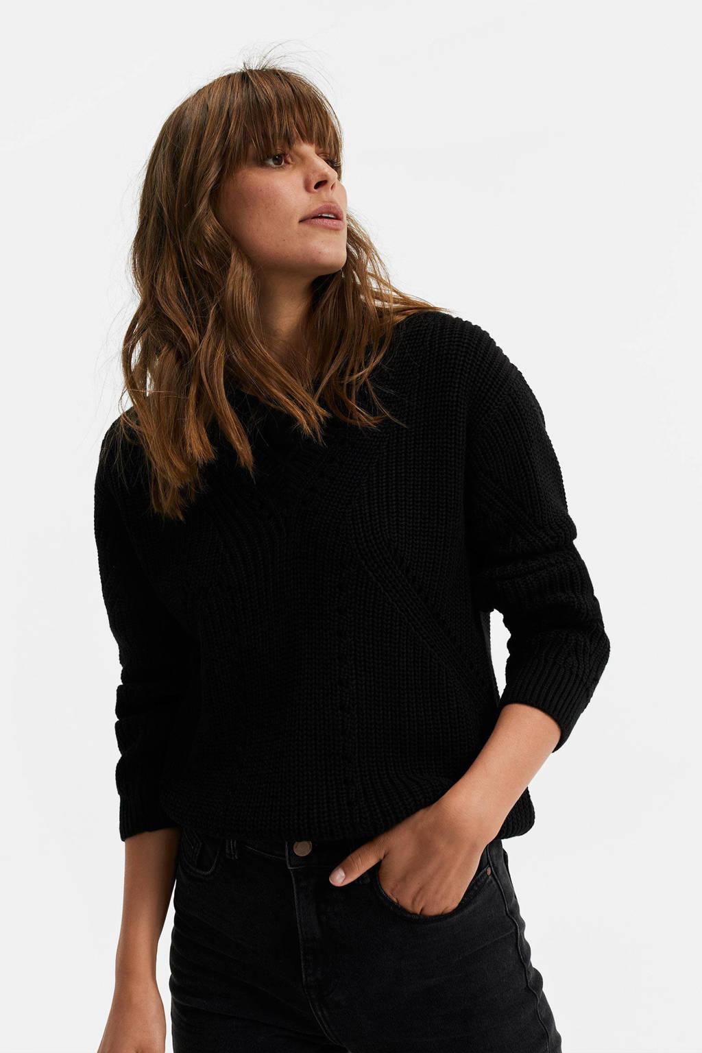 WE Fashion gebreide trui zwart, Zwart