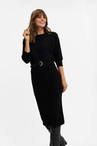 WE Fashion fijngebreide jurk met vleermuismouwen zwart, Zwart