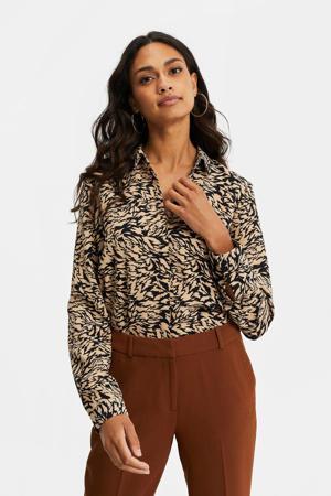 blouse met all over print zwart/beige
