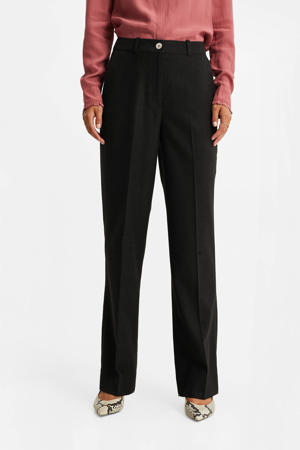 high waist straight fit pantalon zwart
